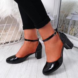 Menda Black Ankle Strap Pumps