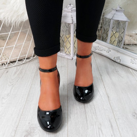 Wicca Black Block Heel Pumps