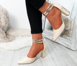 Glovva Beige Gold Block Heel Pumps