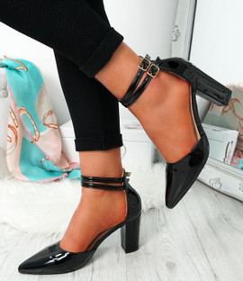 Erram Black Block Heel Pumps