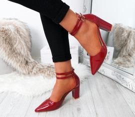 Erram Red Block Heel Pumps