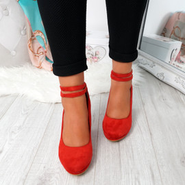 Eby Red Ankle Strap Pumps