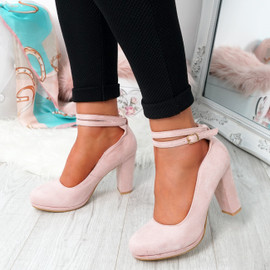Eby Pink Ankle Strap Pumps