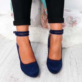 Eby Dark Blue Ankle Strap Pumps