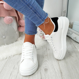 Lynva White Black Suede Trainers