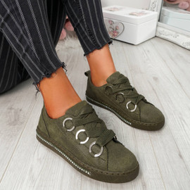 Lutte Dark Green Lace Up Trainers