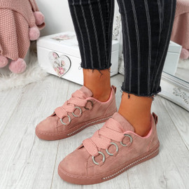 Lutte Pink Lace Up Trainers