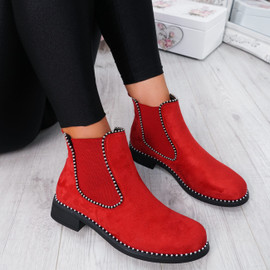 Ohya Red Studded Chelsea Boots