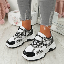 Frozze White Snake Chunky Trainers