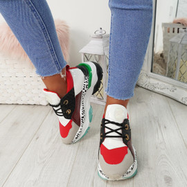 Sykam Red Snake Chunky Trainers