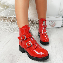 Neva Red Buckle Ankle Boots