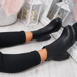 Vaya Black Pu Zip Ankle Boots
