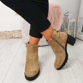 Vaya Beige Zip Ankle Boots