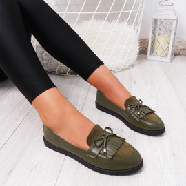 womens green fringes ballerinas size uk 3 4 5 6 7 8