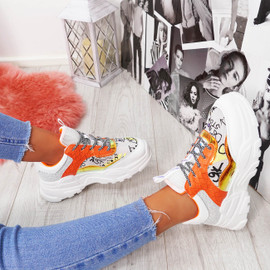 Nevio Orange Chunky Trainers