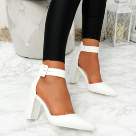 Enna White Pu Block Heel Pumps
