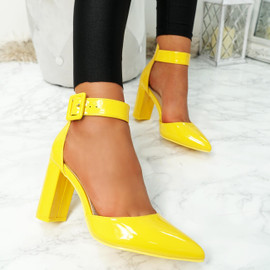 Enna Yellow Pu Block Heel Pumps