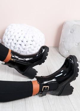 Hava Black Patent Biker Ankle Boots