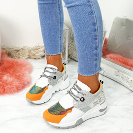 Nesso Grey Glitter Chunky Trainers