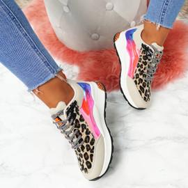 womens beige leopard animal pattern chunky sneakers trainers size uk 3 4 5 6 7 8