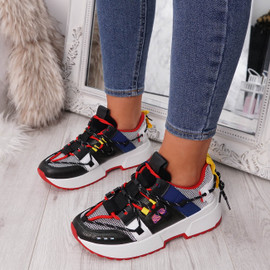 Black Chunky Trainers for Womens, Lace Up Sneakers Women Ladies Girls Party Club Shoes Size Uk 3 4 5 6 7 8