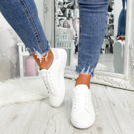 womens white and pink sneakers trainers size uk 3 4 5 6 7 8