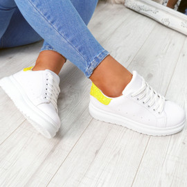 White yellow glitter lace-up trainers for womens size uk 3 4 5 6 7 8