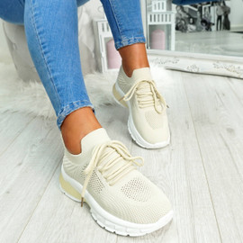 Beige mesh lace-up chunky trainers for womens size uk 3 4 5 6 7 8
