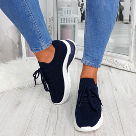 Navy mesh lace-up chunky trainers for womens size uk 3 4 5 6 7 8
