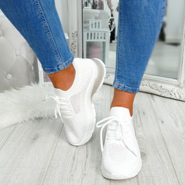 White mesh lace-up chunky trainers for womens size uk 3 4 5 6 7 8