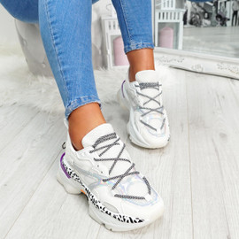 White animal pattern lace-up chunky trainers for womens size uk 3 4 5 6 7 8