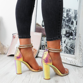 womens champagne color peep toe snake ankle strap block heels size uk 3 4 5 6 7 8