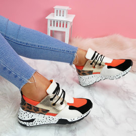 womens orange black white gold shiny lace-up platform trainers sneakers with leopard pattern size uk 3 4 5 6 7 8