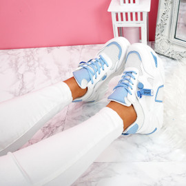 womens blue and white lace-up platform trainers sneakers size uk 3 4 5 6 7 8