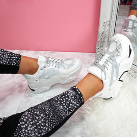 womens white grey lace-up chunky trainers sneakers size uk 3 4 5 6 7 8