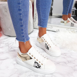 womens white gold lace-up trainers sneakers snake pattern size uk 3 4 5 6 7 8