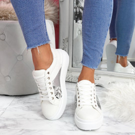 womens white lace-up trainers sneakers snake pattern size uk 3 4 5 6 7 8