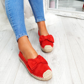womens red bow espadrille ballerinas size uk 3 4 5 6 7 8
