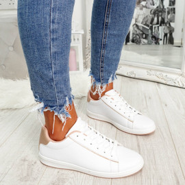 womens champagne and white lace-up trainers size uk 3 4 5 6 7 8