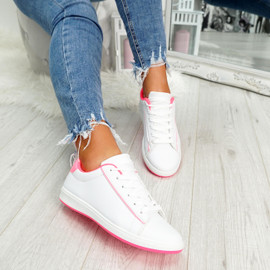 womens fluorescent fuchsia and white lace-up trainers size uk 3 4 5 6 7 8