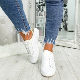 womens gold and white lace-up trainers size uk 3 4 5 6 7 8