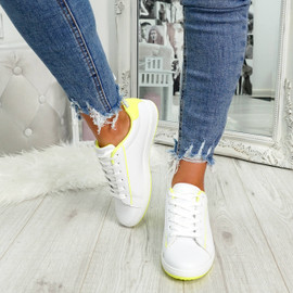 womens fluorescent yellow and white lace-up trainers size uk 3 4 5 6 7 8