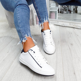 womens navy blue and white lace-up trainers size uk 3 4 5 6 7 8