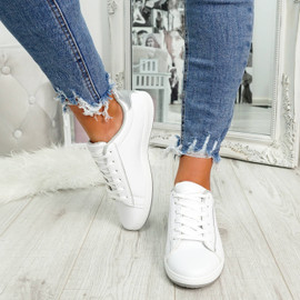 womens silver and white lace-up trainers size uk 3 4 5 6 7 8