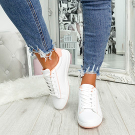 womens pink and white lace-up trainers size uk 3 4 5 6 7 8