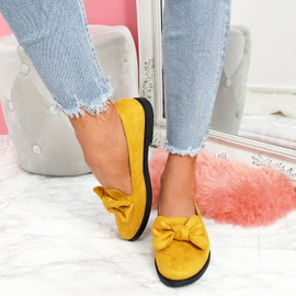womens ladies slip on flat ballerinas bow dolly pumps women casual shoes size uk 3 4 5 6 7 8