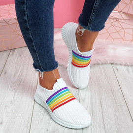 womens ladies rainbow pattern slip on casual sports women trainers shoes sneakers size uk 3 4 5 6 7 8