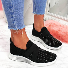 womens ladies slip on studded sneakers party trainers women casual shoes size uk 3 4 5 6 7 8