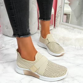 Giffe Beige Knit Studded Trainers