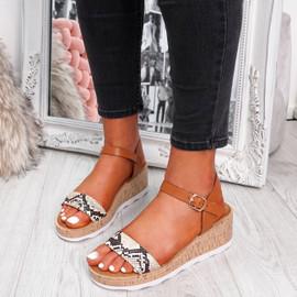 womens ladies ankle strap peep toe snake pattern sandals platform women shoes size uk 3 4 5 6 7 8